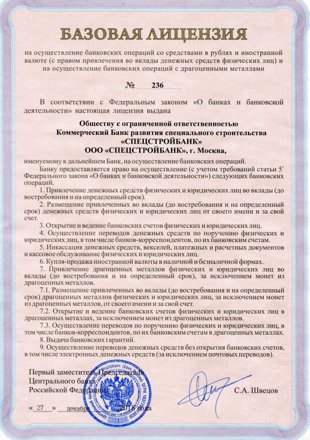 Базовая лицензия на осуществление банковских операций со средствами в рублях и иностранной валюте (с правом привлечения во вклады денежных средств физических лиц) и на осуществление банковских операций с драгоценными металлами от 27 декабря 2018 года № 236